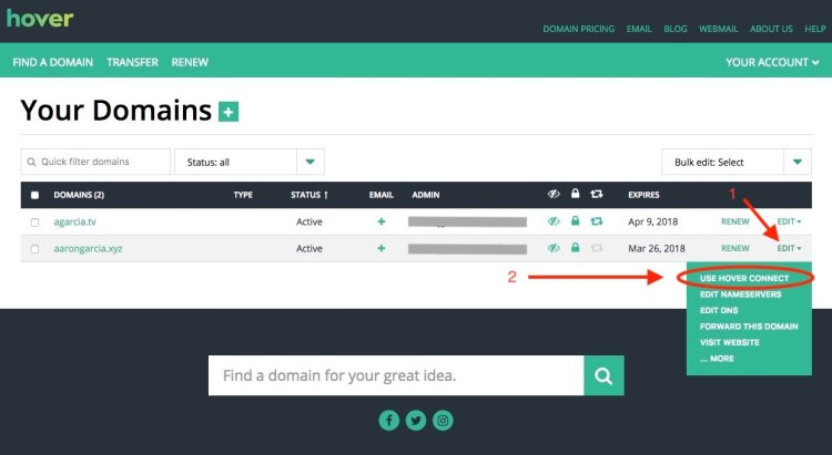 Hover Control Panel Connect Domain
